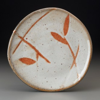 Shino dinner plate with wax resist