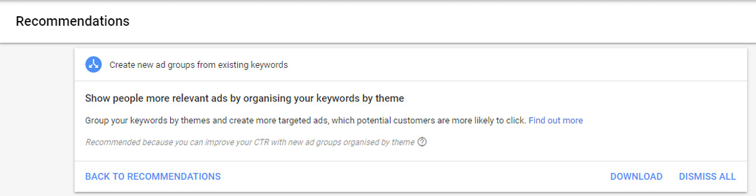 regularly check adwords recommendations and opportunities