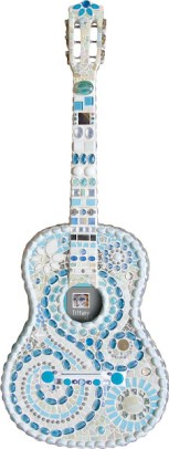Acoustic Guitar Blue and White Front