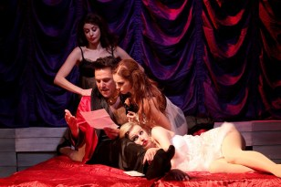 The Witches of Eastwick 5 LtoR Poppy Tierney, Alex Bourne, Joanna Hickman, Tiffany Graves, Photo Philip Tull