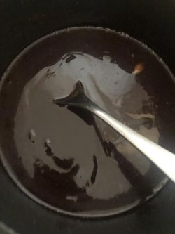 Syrup mixture melted in pan
