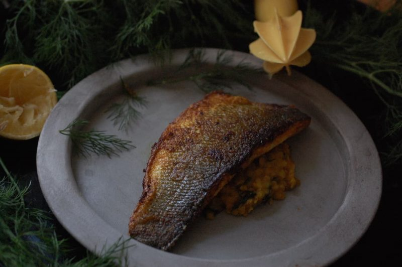 Crispy sea bass on a bed of daal in plate