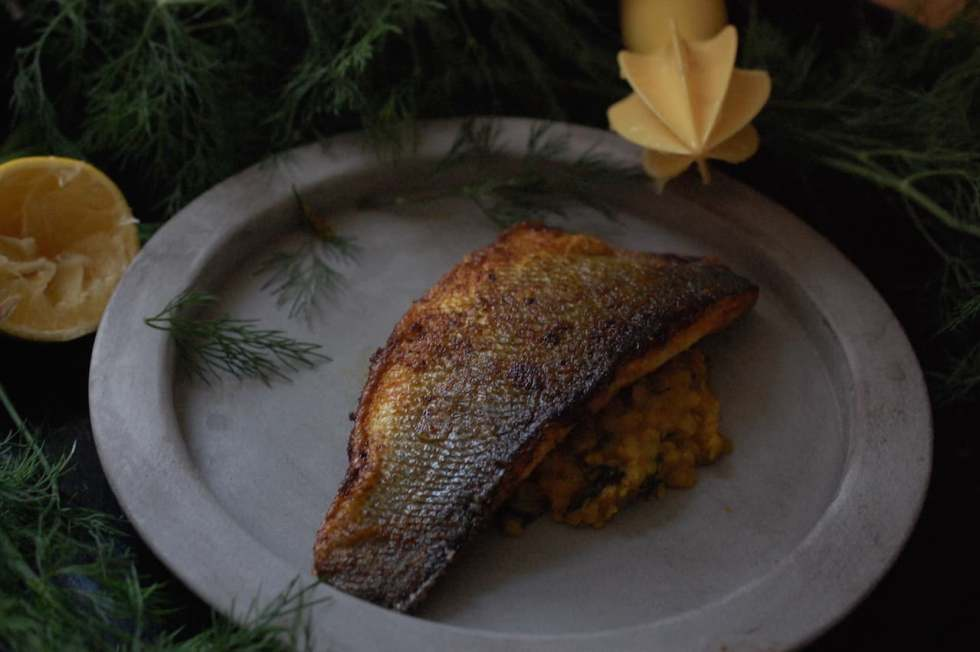 Crispy sea bass on a bed of Daal in grey plate