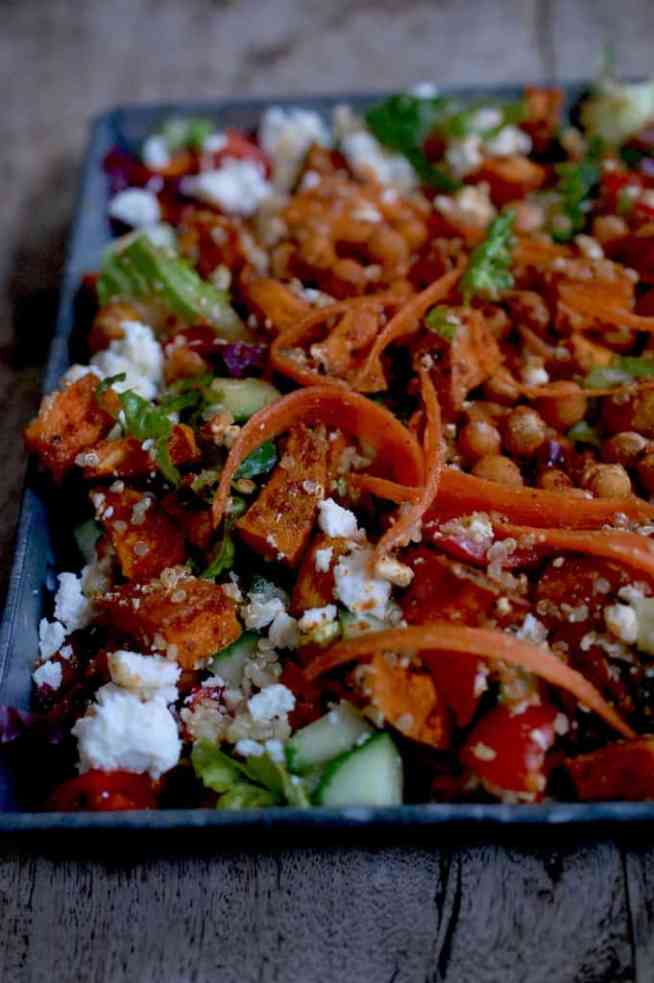 Chickpea,sweet potato, feta and quinoa salad