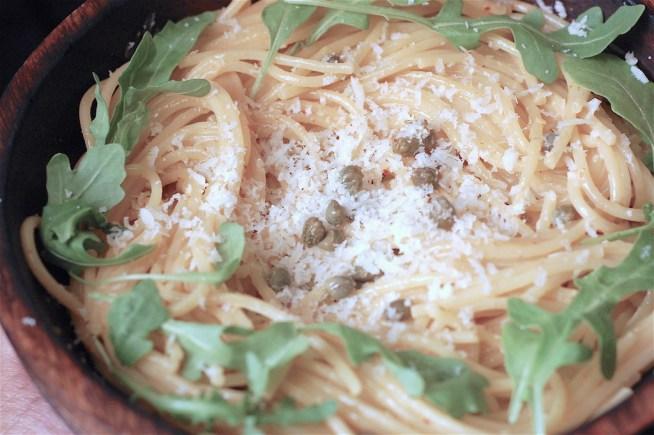 rocket caper and parmesan pasta - www.tiffinandteaofficial.com