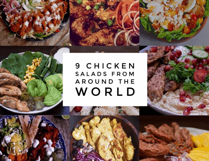 9 chicken salads from around the world graphic