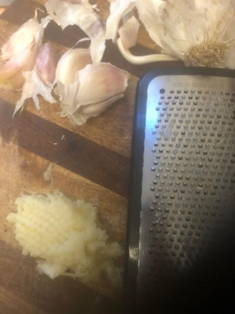 Grated Garlic, Garlic cloves and microplane