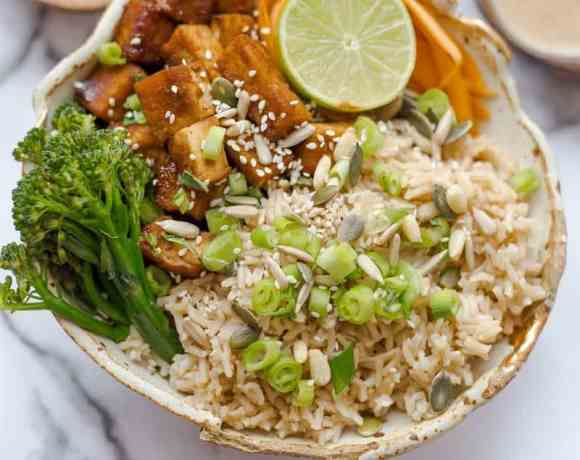 Tofu pieces with rice and veg in a bowl