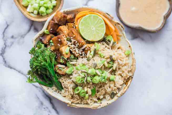 Crispy Tofu, Vegetable and Brown Rice Satay Bowl
