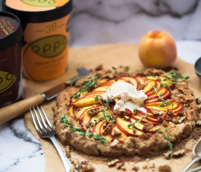 Wholewheat Peach Galette with Salted Caramel Ice Cream and Pecans