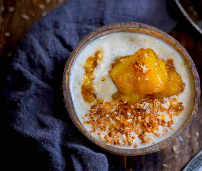 Porridge with Caramelised Pineapple and Toasted Coconut