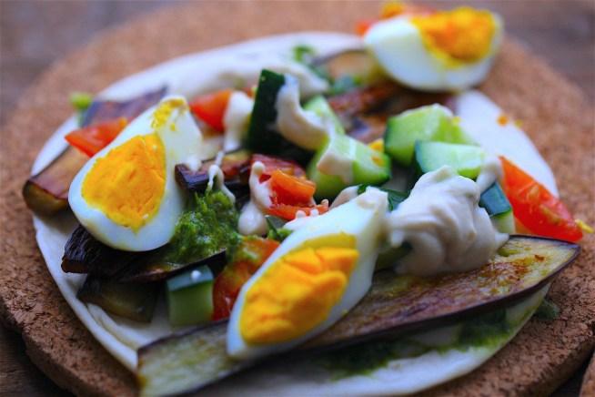 Aubergine, Egg and Tahini Wrap - Sabih (Middle Eastern Veggie Wrap)