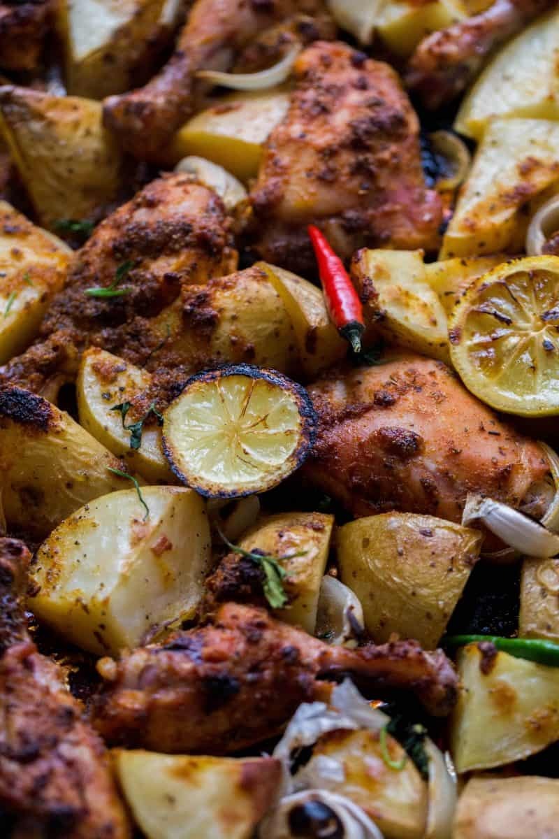 One tray Herb and Citrus Chicken with Potatoes in tray