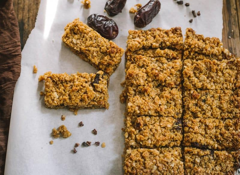 2 rows of Oaty Date and Honey Flapjacks on baking paper