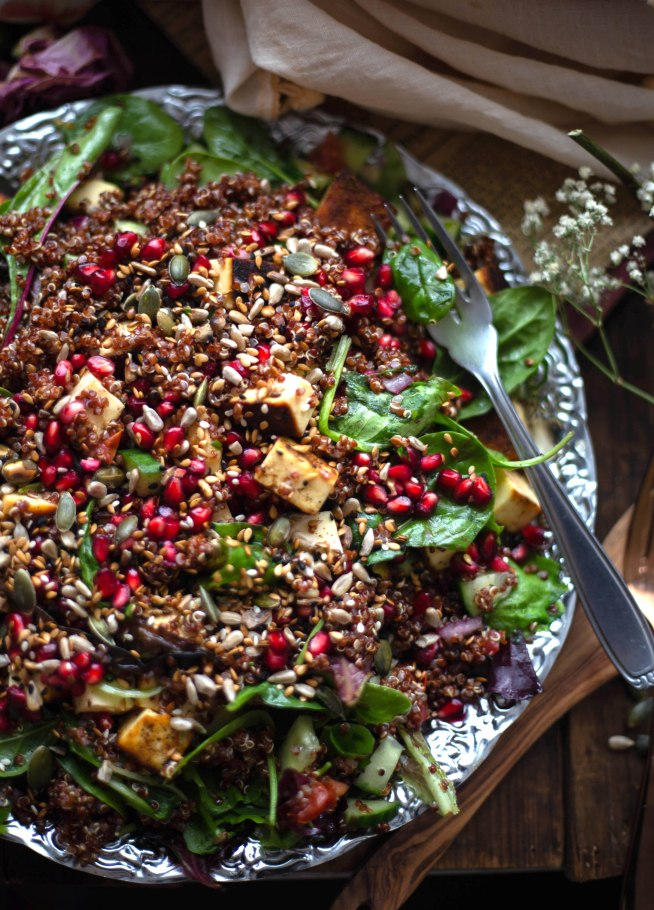 Paneer Quinoa Salad with Pomegranate and Toasted Seeds
