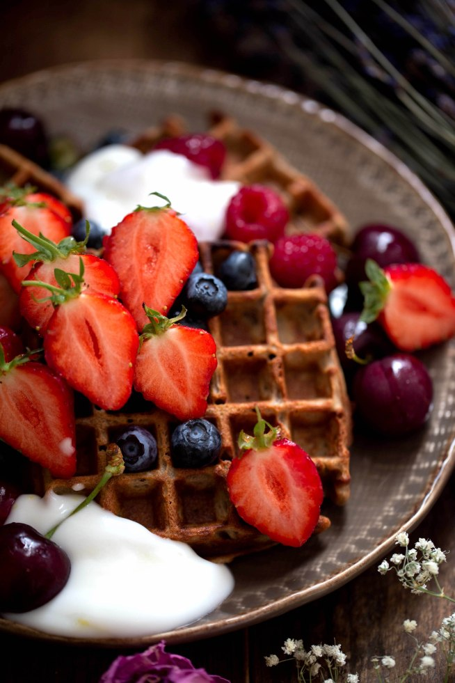 Gluten Free Waffles with Lemon and Honey Yoghurt