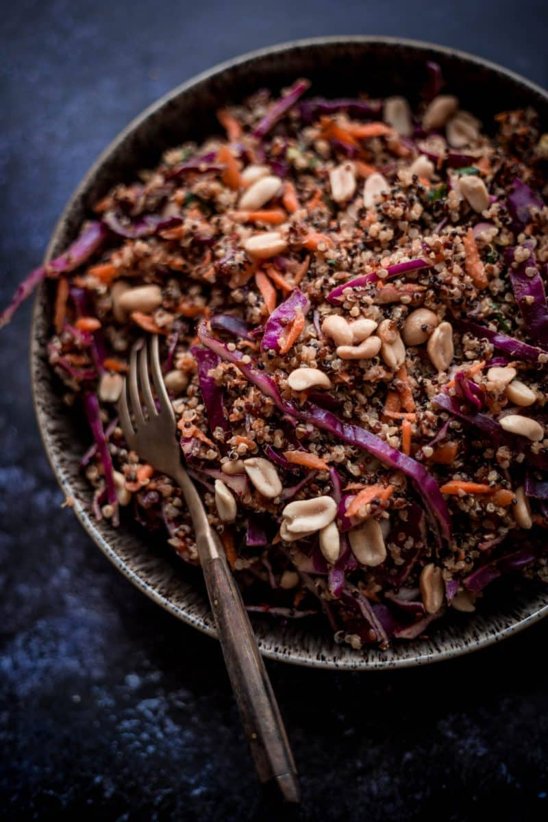 Thai Quinoa Crunch Salad in a bowl with fork