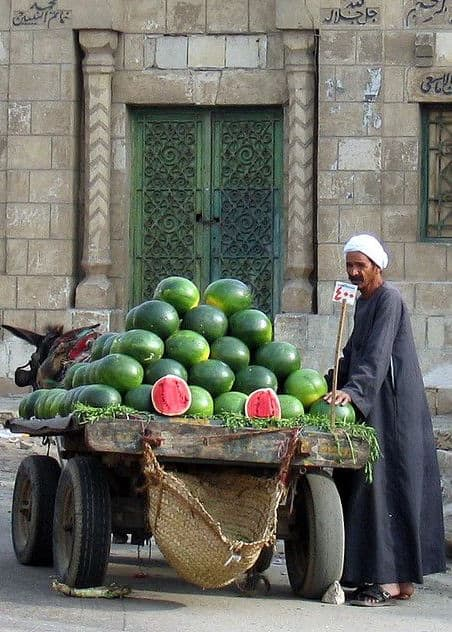Foreign st, Muslim man, Watermelon mobile stall