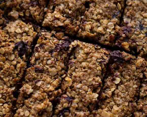 8 Chocolate Flapjacks in a baking tray