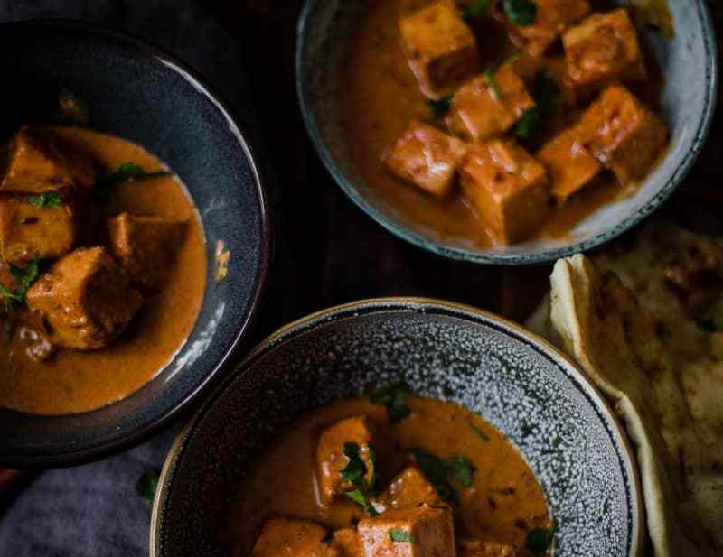 Paneer Tikka Masala in 3 Bowls on a table