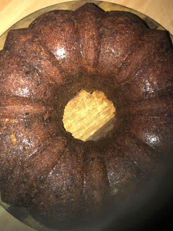 Banana cake cooling on wooden board