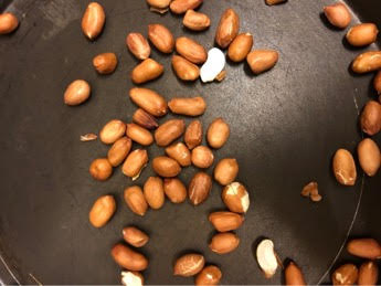 Peanuts roasting in dry pan
