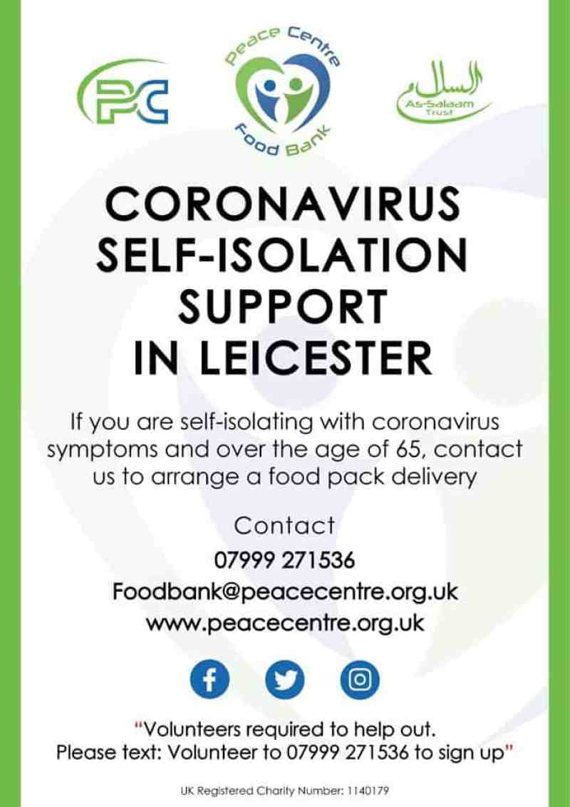 Peace Centre poster re self isolation help