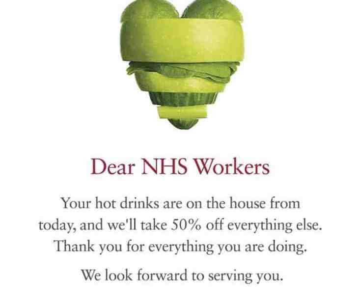 A poster from Pret offering NHS staff free hot drinks
