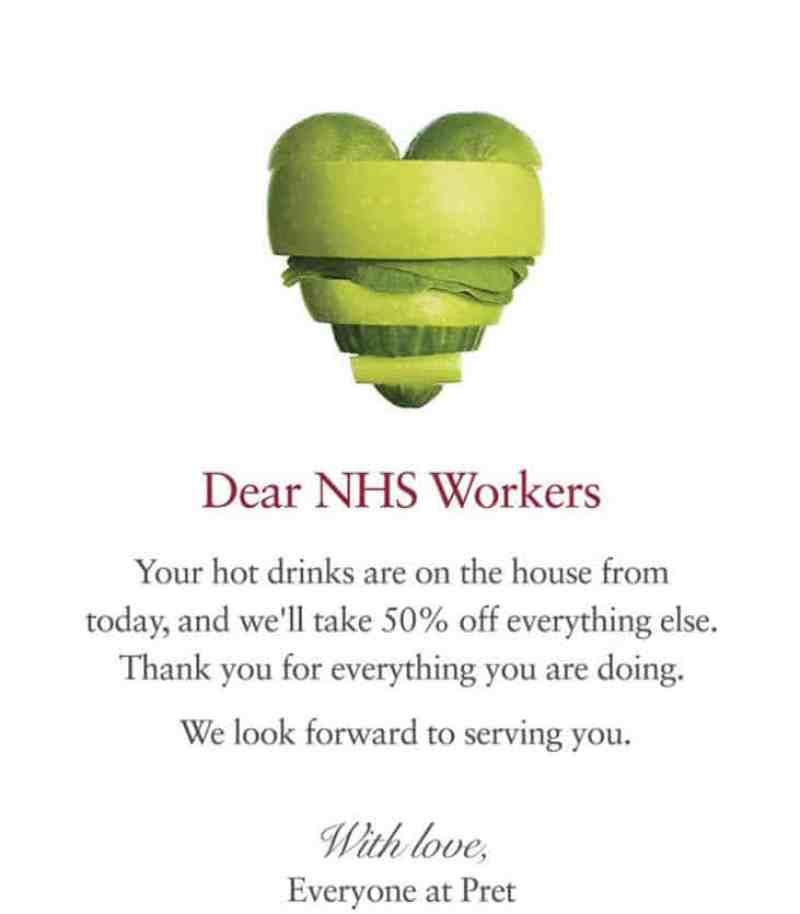 Pret Poster for free NHS drinks