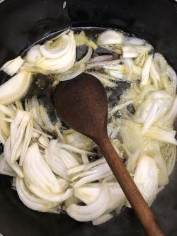 Chopped Onions in oil in pot