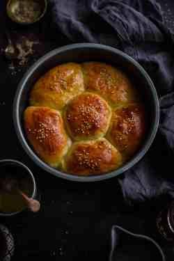 Chicken Milk buns in a baking dish in flower shape