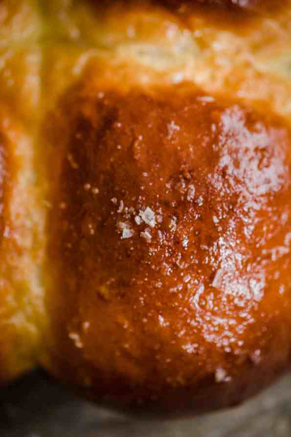 Close up of single milk bun