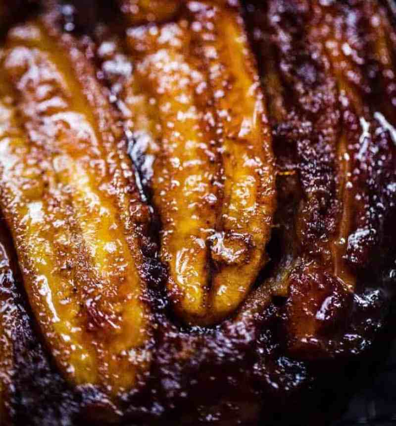 Close up of Banana Upside Down Cake showing bananas sliced in half
