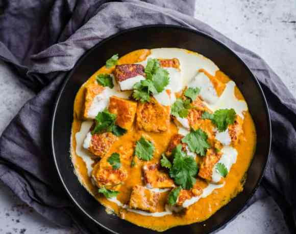 Shahi Paneer in bowl on grey towel