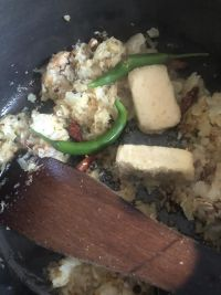 Green Chillies, Garlic and Ginger added to pot