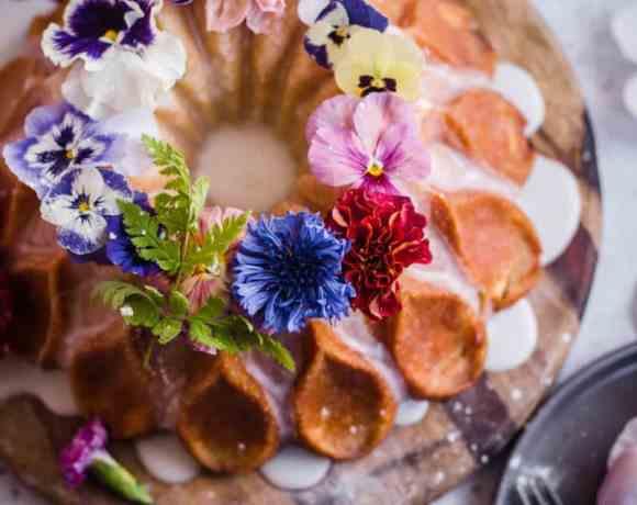 Lemon & Poppyseed Bundt Cake on a wooden board