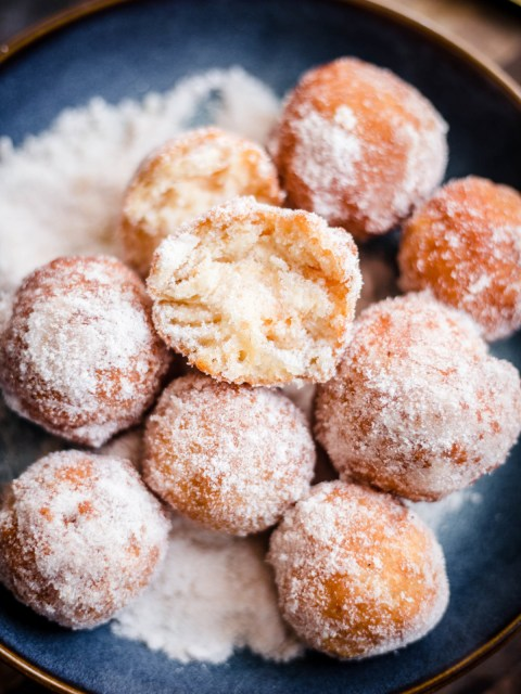 Donuts with Cinnamon Sugar in blue bowl