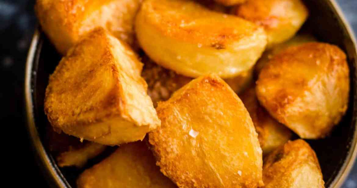 Crunchy roast potatoes in a bowl