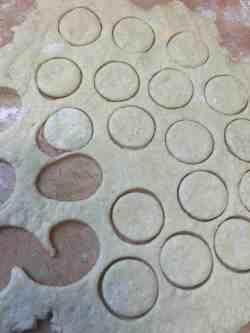 Circles cut out of dough