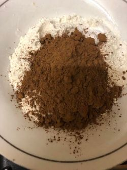 Plain Flour, Bicarb and Cocoa Powder in a bowl
