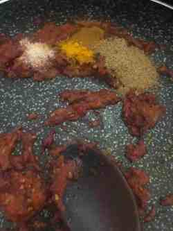 Ground Spices being stirred into pan