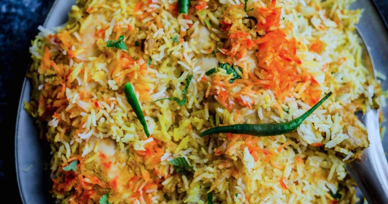 Hyderabadi Chicken Biryani in a plate