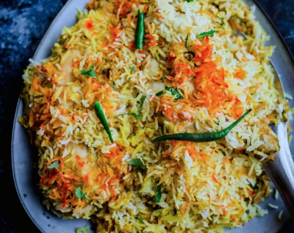 Hyderabadi Chicken Biryani in a plate