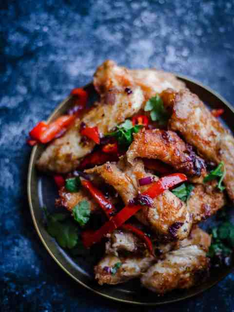 Salt and Pepper Chicken in a plate