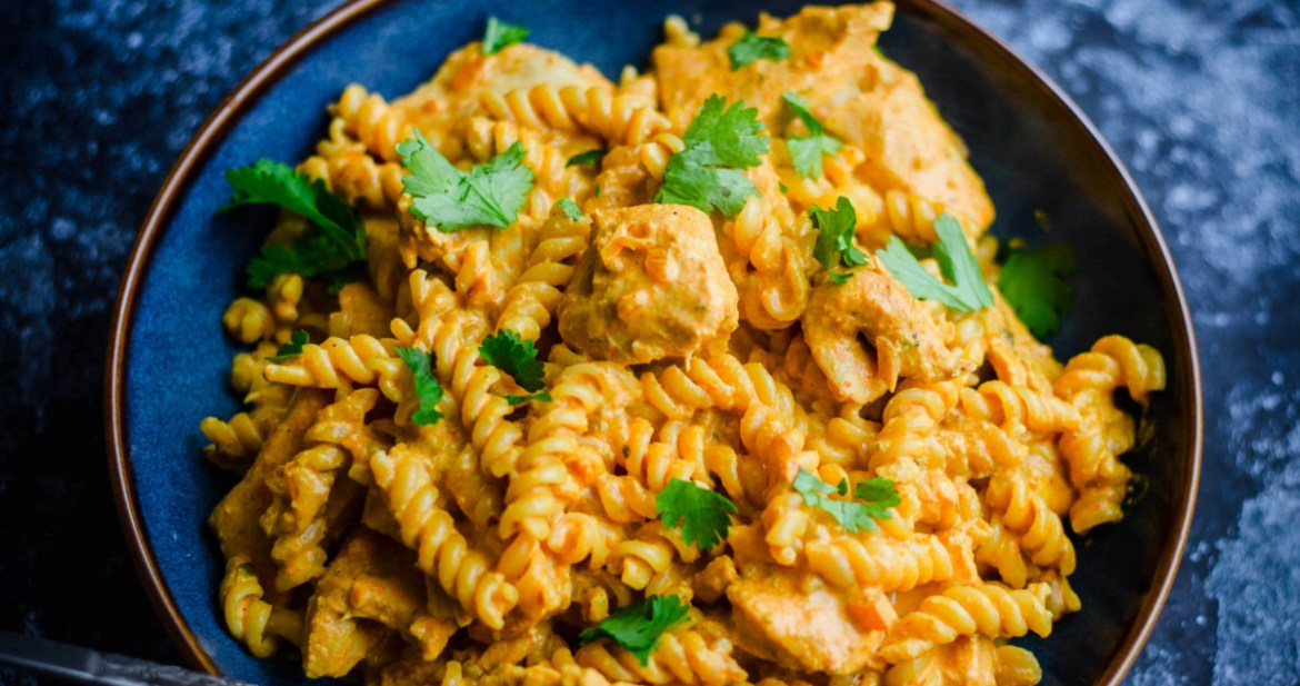Butter Chicken Pasta in a bowl