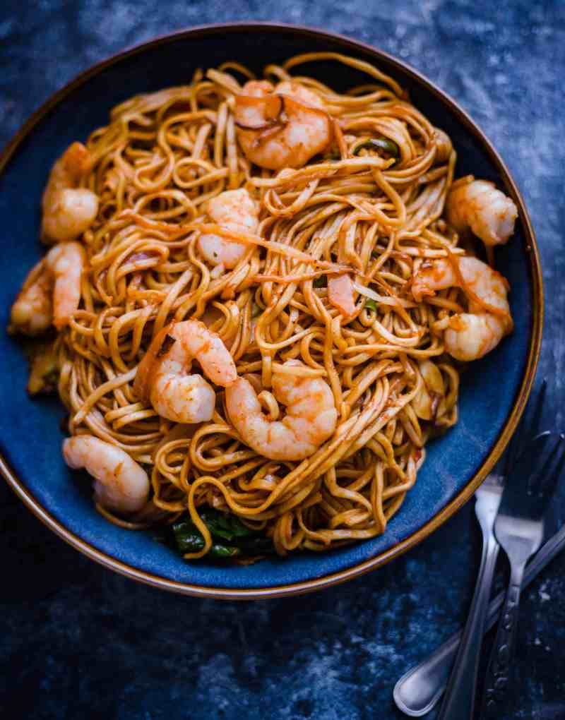Shrimp Chow Mein in a bowl