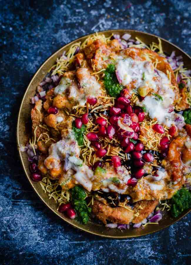 Aloo Tikki Chaat in a gold plate