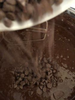 Chocolate chips being stirred into batter
