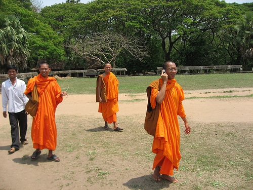 Buddhist Monks With Telephones