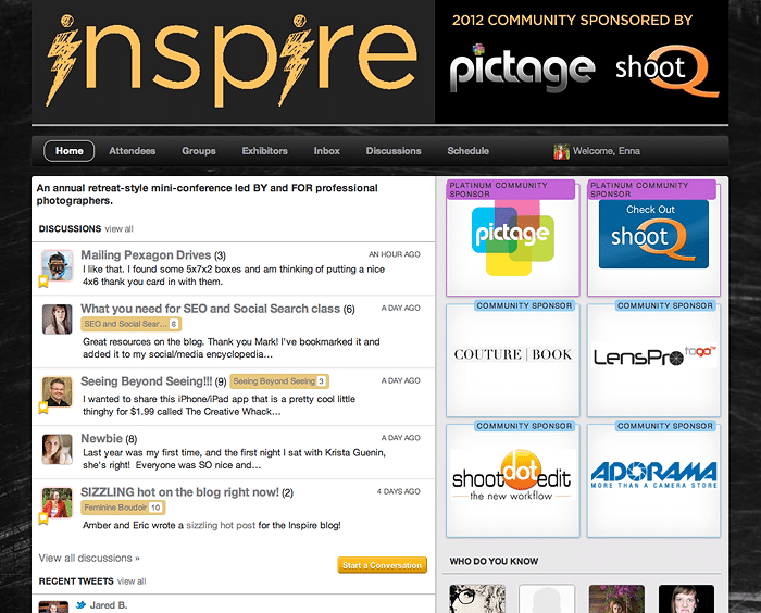 Inspire Photo Seminars Community Page